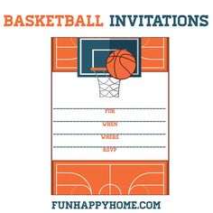 FREE Printable Basketball Themed Party Invitations #MarchMadness #Basketball