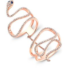 14KT Rose Gold Diamond Blue Sapphire Snake Connector Ring ($1,550) ❤ liked on Polyvore