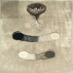 Sean Caulfield.  Eunoe (Waiting and Yearning), 2010. Mezzotint, intaglio, chine colle. Edition of 18. 10 x 10 inches.