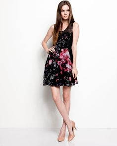 """Theory """"Diamia. Exploding Flower"""" Mauve Silk Blend Dress"""
