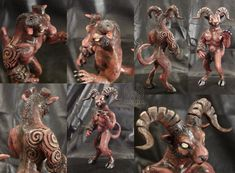 Hell Goat Demon - Finished by Beetlecat on DeviantArt Goats, Lion Sculpture, It Is Finished, Deviantart, Statue, Sculptures, Sculpture, Goat