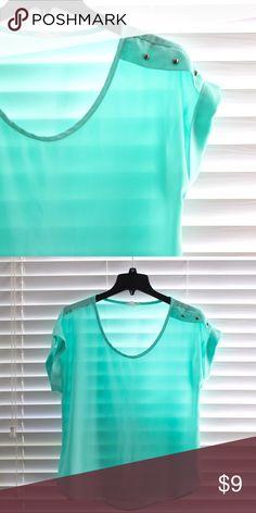 Tiffany Blue Short Sleeve Blouse Tiffany Blue Short Sleeve Blouse. Size L. Tops Blouses