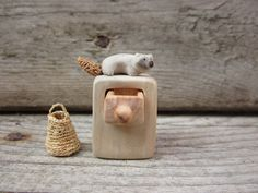Miniature cabinet with woodland creature Wood carving by plad (etsy)