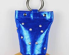 Anillo metálico mango bolso pequeño eléctrico azul metálico bolso bolso de mano azul bolso de noche bolso/Mini cubo bolso de cuero – MiniSophiaEL7