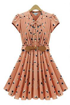 Self-Tie Pleated Belted Print Dress OASAP.com