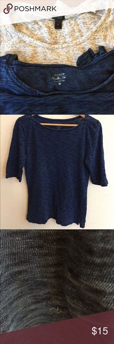 """J.Crew bundle of shirts Great bundle of two: One J.Crew """"painter"""" tee. Dark blue patterned tee with sleeves that almost reach the elbow and small reinforced slits on each Great condition except one small hole on bottom of front. (See photo.). The second shirt is a gray pattern and closer to a lightweight sweatshirt than a tee. 3/4 length sleeves and also has reinforced slits on each side of bottom hem. Great condition. J. Crew Tops Sweatshirts & Hoodies"""