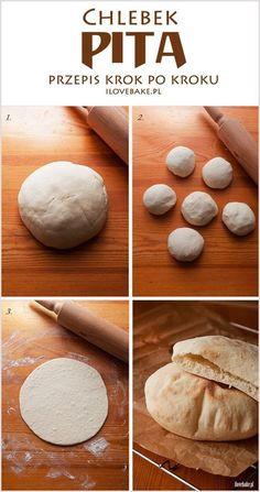 Pita bread - recipe step by step Salty Foods, Polish Recipes, Arabic Food, Street Food, Food Hacks, Food Inspiration, Food Porn, Food And Drink, Cooking Recipes