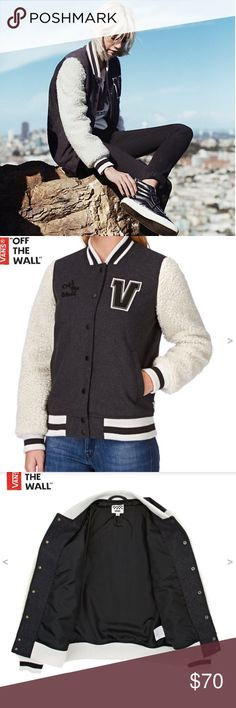 """Vans Sherpa Sleeves Jacket Vans Sherpa Sleeves Jacket. College cool has never been so comfortable; this timeless, stylish jacket pairs perfectly with your favourite jeans and sneakers. Women's college-style jacket. Embroidered """"Off the Wall"""" on front chest. Rib-knit collar trim, sleeve cuffs, and hem for a snug fit. Seven-popper placket. Sherpa fleece adds supreme comfort and warmth. Two hand-pockets at the front. Material: Cotton and Synthetic blend Vans Jackets & Coats"""