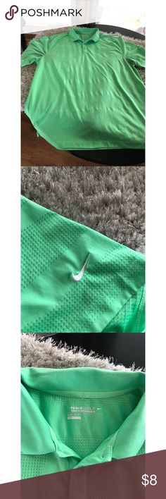 Nike Golf Polo Top XXL Nike Golf Polo Top.  Lime green color.  Dri Fit style.  Size XXL.  Good condition.  Important:   All items are freshly laundered as applicable prior to shipping (new items and shoes excluded).  Not all my items are from pet/smoke free homes.  Price is reduced to reflect this!   Thank you for looking! Nike Shirts Polos