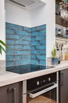 Check out this stunning kitchen splashback created with our Vintage tiles 💙 Kitchen Designs Photos, New Kitchen Designs, Design Your Kitchen, Kitchen Pictures, Kitchen Wall Tiles, Wooden Kitchen, Kitchen Flooring, Kitchen Cupboard Colours, Kitchen Cupboards