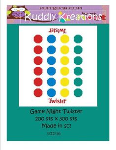 Name: 'Crocheting : Game Night Twister Crochet Graph Cross Stitch Charts, Cross Stitch Patterns, Twister Board Game, Bord Games, Game Night Parties, Intarsia Knitting, Double Knitting, Beading Patterns, Crochet Projects