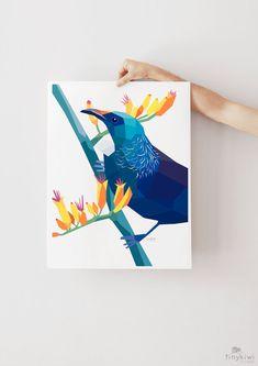 Tui print Tui wall art Native New Zealand birds New Zealand Geometric Bird, Geometric Artwork, Simple Artwork, New Zealand Art, Art Calendar, Kiwiana, Fine Art Paper, Nativity, Giclee Print