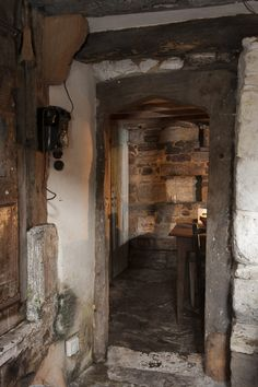 I can see where the floor has been lowered and the 'new' staircase carefully slotted into an original beam Tudor Cottage, Old Cottage, Tudor House, Rustic Cottage, Cottage Style, Country Cottage Interiors, Rustic Interiors, Medieval Houses, English House