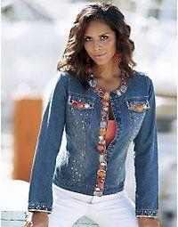 Modest and Fashionable: Modest Daytime Dresses Jeans Refashion, Denim Ideas, Embellished Jeans, Denim And Lace, Daytime Dresses, Denim Fabric, Jacket Style, Denim Fashion, Modest Fashion