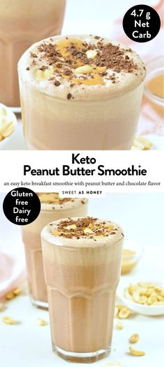 KETO PEANUT BUTTER SMOOTHIE an easy almond milk chocolate smoothie free keto sweets Keto peanut butter smoothie - dairy free - Sweetashoney Chocolate Avocado Smoothie, Almond Butter Smoothie, Chocolate Peanut Butter Smoothie, Smoothies With Almond Milk, Chocolate Flavors, Chocolate Smoothies, Healthy Peanut Butter Smoothie, Almond Milk Shakes, Almond Butter Keto