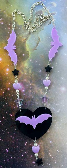 Bat necklace heart pendant kawaii necklace pastel goth jewelry creepy cute necklace star charm purple lolita jewelry gothic lazer cut charm