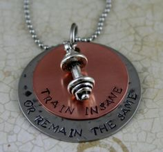 """Hand Stamped Personalized Necklace Copper and Stainless Steel Personal Trainer, Workout, Exercise, Weightlifting Jewelry """"TRAIN INSANE"""""""