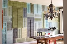diy idea: shutter wall (painted all the same color for texture)- except i would do this ON THE CEILING!!!! awesome!!