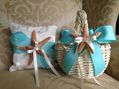 flower girl basket and coordinating ring pillow for beach wedding with tiffany blue ribbon on Etsy, $140.00 LOVE THIS