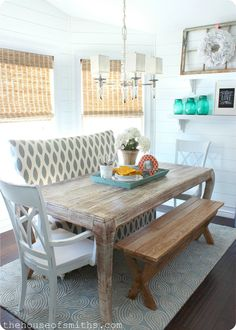 Southern Charm...love the wash on the table and the 'pic nic' type bench.