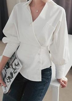 White Turndown Collar Long Sleeve Blouse - Trend Way Dress