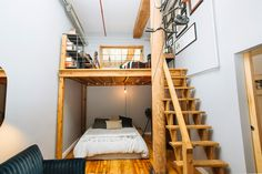 Solution for small space living: combine office and guest room and take advantage of high ceilings!