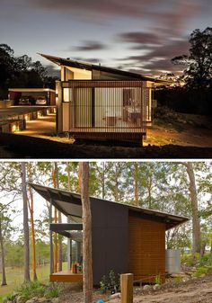 The sloped roof on this modern house provide shade during the day and helps to direct rain water into the containers at the back of the house. Roof Styles, House Styles, Casas Containers, Roof Architecture, Chinese Architecture, Futuristic Architecture, Container House Design, Modern House Design, Modern Wood House