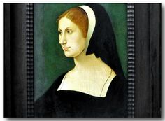 Portrait of a Young Woman, Netherlandish c. 1520.  Painting in the Staatliche Museen, Berlin.