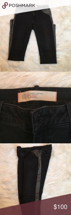 Marc Jacob Two-Toned Jeans Marc by Marc Jacobs skinny motorcycle pants. Black with grey detailing down the leg. See detailing at the knee in pic #4. Marc by Marc Jacobs Pants Skinny