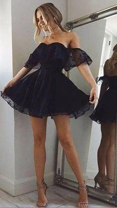 Prom Dress Black, Cute Homecoming Dresses, Prom Dresses For Teens, Elegant Dresses For Women, Gala Dresses, Evening Dresses, Chiffon Dresses, Dress Long, Black Formal Dress Short