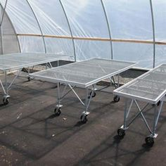 x Expanded Metal Bench on Wheels - Growers Supply Greenhouse Benches, Greenhouse Shelves, Diy Greenhouse, Discount Patio Furniture, Fodder System, Expanded Metal, Grow Room, Garden Equipment, Aluminum Table