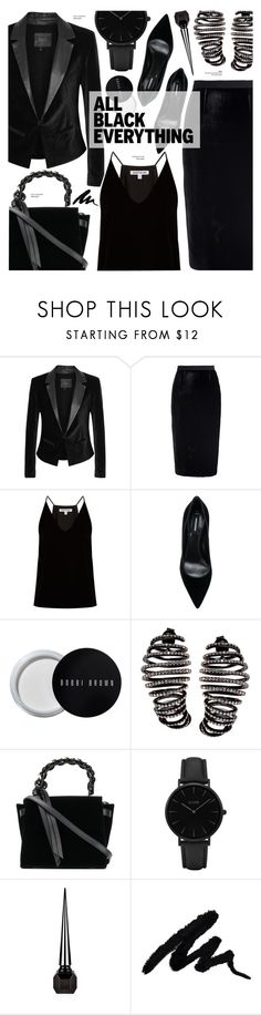 """Velvet - Monochrome black"" by cly88 ❤ liked on Polyvore featuring Paige Denim, Roland Mouret, Elizabeth and James, Dsquared2, Bobbi Brown Cosmetics, Plukka, Elena Ghisellini, CLUSE and Christian Louboutin"