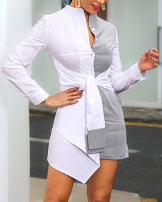 Striped Insert Knotted Front Shirt Dress Shop- Women's Best Online Shopping - Offering Huge Discounts on Dresses, Lingerie , Jumpsuits , Swimwear, Tops and More. Trend Fashion, Look Fashion, Woman Fashion, Fall Fashion, Latest Fashion, Fashion Online, Women's Fashion Dresses, Casual Dresses, Event Dresses