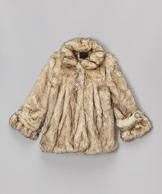 Loving this Crystal Fox Faux Fur Coat - Toddler & Girls on #zulily! #zulilyfinds