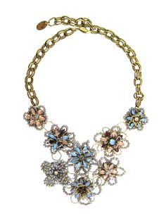 0ddeacc9c Wild Flower necklace Crystal beaded flower statement necklace. Made with  24k gold plated vermeil,