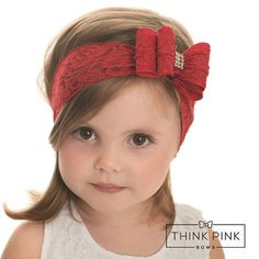 Red baby headband - Think Pink Bows Lace Headbands, Baby Girl Headbands, Tissu Style Shabby Chic, Christmas Hair Bows, Baby Turban, Barrettes, Hairbows, Diy Hair Accessories, Big Bows