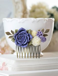Purple Wedding Hair Accessory Bridal Hair Comb Large by LeChaim