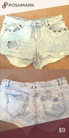 Denim shorts Light washed/ripped look adorable denim shorts! Gently worn, with cute studs on the pockets! Fire Los Angeles Shorts Jean Shorts