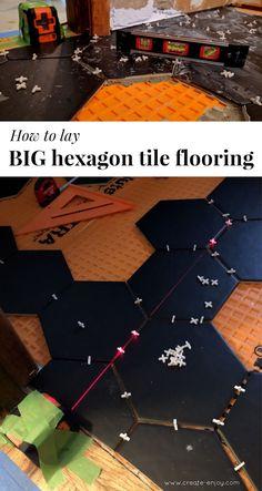 How to lay big hexagon tile!: Week 3 of the One Room Challenge / Create / Enjoy Large Hexagon Floor Tile, Hexagon Tile Bathroom Floor, Hex Tile, Hexagon Tiles, Bathroom Layout, Mosaic Tiles, Bathroom Stuff, Basement Bathroom, Laying Tile Floor