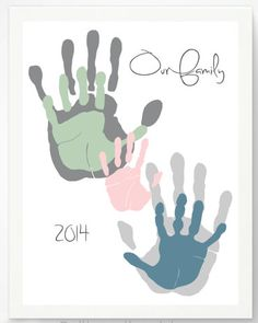Meaningful Handprint Art Gifts: Our Family Personalized Hand Print Family Portrait Art Print by Pitter Patter Print @ Etsy (Diy Gifts For Girls) Family Crafts, Baby Crafts, Crafts To Do, Crafts For Kids, Craft Gifts, Diy Gifts, Footprint Crafts, Handprint Art, Valentines Diy