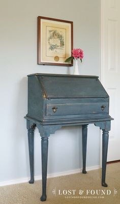 $10 Garage sale desk transformed using Artissimo Milk Paint and Duck Egg Blue chalk paint on the inside. Secretary Desk