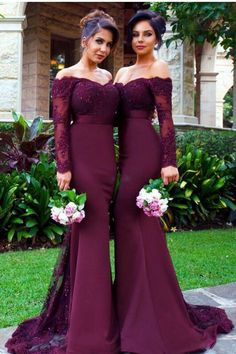 New Arrival Long Sleeves Bridesmaid Dresses,Grape Lace Bridesmaid