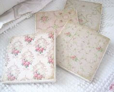 porcelain rose, tiles, shabby chic, shabbi chic, roses, decal, pretti porcelain, tile coasters
