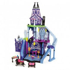 Let your child have a ghoulishly great time exploring this dark catacomb from the popular Monster High franchise. With 3 levels full of secret doors and sinister surprises, this scary mansion can display up to 15 dolls (dolls not included) making it the perfect place for your child and her friends to haunt.