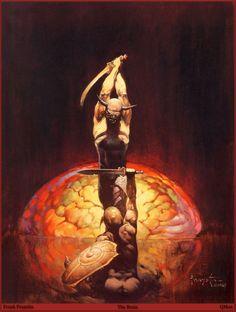 Devil fight. The Brain, by Frank Frazetta.
