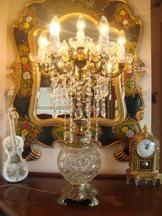 vintage brass cherub chandelier table lamp