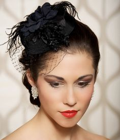 Black Bridal Hat, Black Head Piece, Wedding Fascinator, Old Hollywood, Pillbox Hat, Cocktail Hat, Birdcage Veil, Black Flowers - HEIDI. $89.00, via Etsy.
