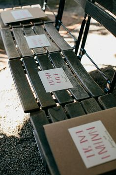 name cards for reserved ceremony seats, photo by Love Katie and Sarah http://ruffledblog.com/a-brooklyn-wedding-for-two-actors #weddingideas #papergoods