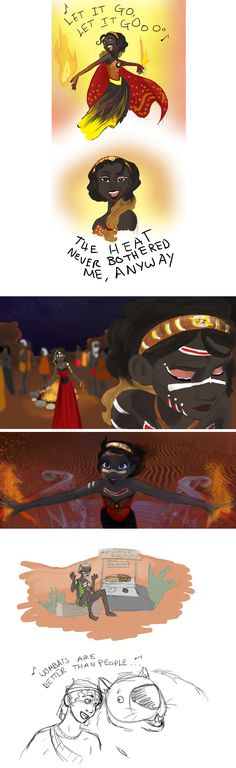 Melted: a Frozen story bend. An interesting idea that started as a joke about the heat wave in Australia when the movie came out and how Elsa's ice power would have been welcomed there. The story of Frozen that takes place in Australia, but Elsa's power is over fire instead of ice, and everyone is Aboriginal instead of Caucasian. // What an awesome idea!