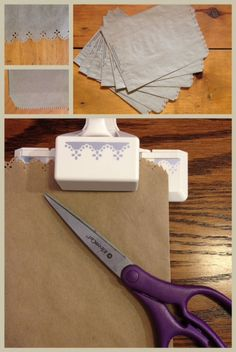 Make a plain paper bag lacy! Super easy and would be cute for gift bags, too!